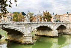 Bridge Vittorio Emanuele II in Rome Stock Photos