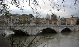 Bridge Vittorio Emanuele II in Rome in winter with the flood. Italy Royalty Free Stock Image
