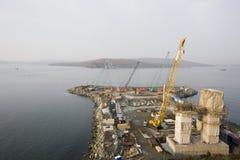 Bridge Vladivostok. Vladivostok. Russia. Morning. Construction of the grandiose bridge(length of 1885 meters) on island Russian through sea passage Bosphorus Royalty Free Stock Image