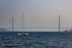Bridge in Vladivostok. Russian bridge in Vladivostok to the Russian island Royalty Free Stock Photo