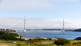 Bridge in Vladivostok to the Russky Island. Longest cable-stayed bridge in the world in the Russian Vladivostok over the Eastern Bosphorus strait to the Russky royalty free stock photos