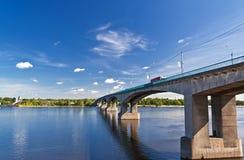 Bridge on the Volga river Royalty Free Stock Image