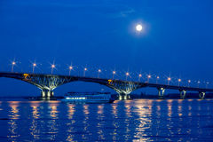 Bridge on the Volga river between the cities of Saratov and Engels, summer evening. Russia stock photography