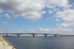 The bridge through Volga Royalty Free Stock Images