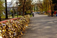 Bridge of love with millions of locks royalty free stock images