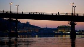 Bridge walk people sunset. Bridge beautiful walk people sunset stock footage