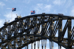 Bridge walking. On harbour bridge in sydney, australian flags Royalty Free Stock Image