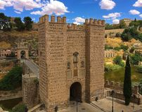Bridge and Walls of Toledo, Spain royalty free stock photography