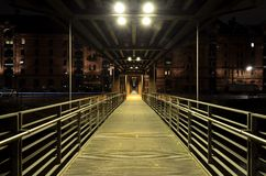 Bridge in Warehouse district in Hamburg city Stock Photo