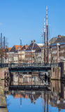 Bridge and warehouses along a canal in Groningen Stock Photos