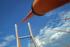 Bridge in Warsaw. Siekierkowski cable-stayed bridge over the Vistula River in Warsaw, and royalty free stock photo