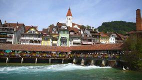 Bridge with a water gate in Thun town in Switzerland stock video