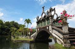 Bridge in the water Palace of Tirtagangga. View of the bridge in the water Palace of Tirtagangga, Bali Royalty Free Stock Image