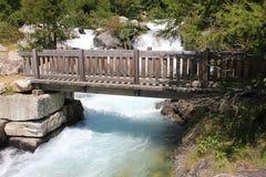 Bridge on the waterfall. Wood bridge on the waterfall Stock Photo