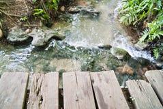 The bridge waterfall wood Royalty Free Stock Image