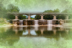 Bridge and waterfalls background Royalty Free Stock Photo