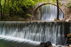 Bridge and waterfalls in Greece Stock Photo