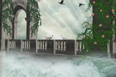 Bridge on the waters Royalty Free Stock Images