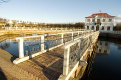 The bridge with a white handrail to a palace (2) Royalty Free Stock Photography