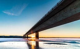 Bridge. A wide angle shot of Norways greates lake in winter Royalty Free Stock Photo