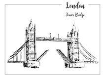 bridge1 wieży Londyński symbol Piękna ręka rysująca wektorowa nakreślenie ilustracja Obraz Stock