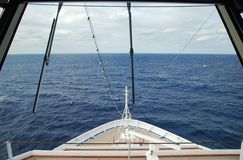 Bridge Window. The view of Caribbean sea through the front window of cruise ship captains' bridge Royalty Free Stock Images