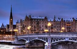 Bridge in winter. Bridge in city on a winter night stock photography