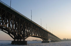 The Bridge in winter. Royalty Free Stock Photography