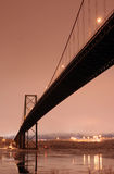 Bridge on Winter Night Royalty Free Stock Photography