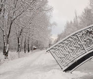 Bridge in winter park. Beautiful winter Park, snowy road, snow covered bridge, trees, snow stock photography