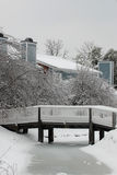 Bridge in Winter Snow and Ice Royalty Free Stock Images