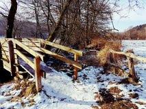 The bridge. Bridge winter sun snow stock photography