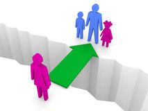 Bridge from woman to man with children. Family reunion. Royalty Free Stock Photo