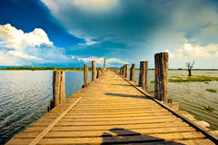 The bridge. The wood bridge in myanmar Stock Photo