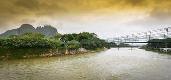 The bridge wood at Song river Vang Vieng Stock Image