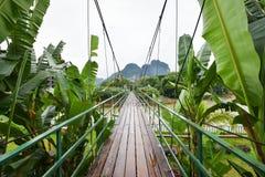 The bridge wood at Song river Vang Vieng Royalty Free Stock Photos