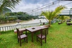 The bridge wood at Song river Vang Vieng Royalty Free Stock Photo