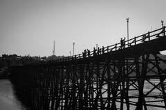 Bridge Wood. White black thailand art background landscape stock images