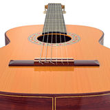 Bridge wooden acoustic guitar, close view Royalty Free Stock Images