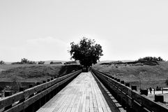 Bridge. Wooden bridge in black and white Royalty Free Stock Photography