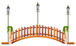 Bridge with wooden fence and lamp Stock Photo
