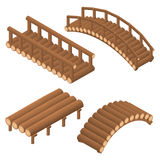 The bridge of wooden logs. Arched and straight. Flat 3D isometric set. Engineering Structure of trees across the river. Viaduct. Beams and supports. Vector vector illustration