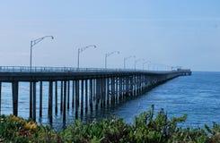 The bridge. The wooden old bridge and sea stock photo