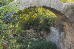 Stone Bridge in Pure Green Jungle Royalty Free Stock Photography