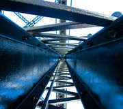 Bridge Work. Looking up into the steel structure of a bridge Stock Images