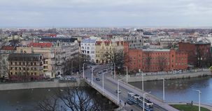 Bridge of Wroclaw. View from a roof of University stock video