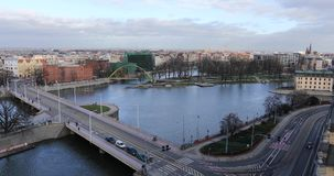 Bridge of Wroclaw. View from a roof of University stock video footage
