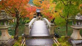 bridge wtih autumn leaves at Eikando Temple Stock Photo