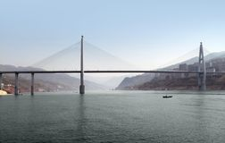Bridge upon Yangtze River. Panoramic scenery including a bridge along the Yangtze River in China Stock Photography