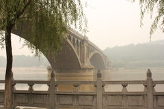 Bridge on the Yi River in a haze, China. Bridge on the Yi River, near Luoyang City, Henan province, China stock photo